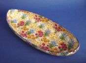 Unusual Art Deco Grimwades Royal Winton 'Marguerite' Chintz Canoe Dish c1935 (Blue Trim)